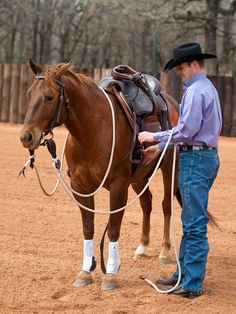 While there's no golden rule for how tight you should cinch your horse, remember that you should tighten it in stages. The first time I cinch the horse snugly, but I don't cut him in half. I want to give him a chance to warm up and get comfortable before I really cinch him up. I'll do groundwork for about 5 minutes, and then I'll check the girth and tighten it a little more. I'll do groundwork again for 5 to 10 minutes and then I'll tighten my girth for the...