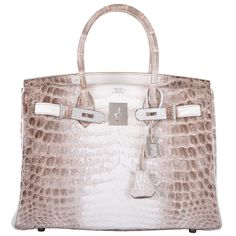 ONE & ONLY HERMES BIRKIN BAG 30cm MATTE HIMALAYAN CROCODILE 18K & DIAMOND   From a collection of rare vintage top handle bags at https://www.1stdibs.com/fashion/handbags-purses-bags/top-handle-bags/