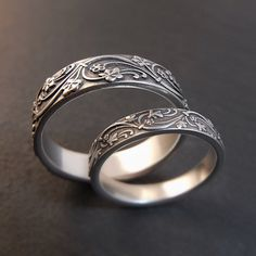 Art Deco Ivy Wedding Band Set in Sterling by DownToTheWireDesigns