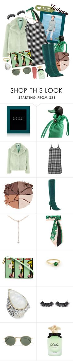 """""""Green Style - 60s Inspired"""" by nessacarissa ❤ liked on Polyvore featuring Smythson, Topshop, Hush, lilah b., Nine West, Fendi, Olympia Le-Tan, Tiffany & Co., Konstantino and Battington"""