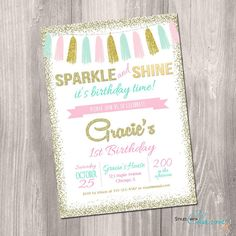 Sparkle and shine invitation pink gold mint by StyleswithCharm
