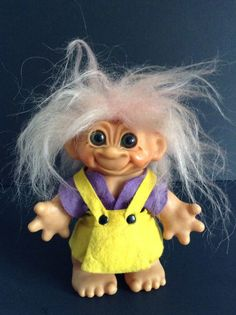 "Vintage Thomas Dam Troll Doll Bank Girl 6-1/2"" Light Pink Hair 60'S FREE SHIPP #Dam #1960sTrolldollBank"