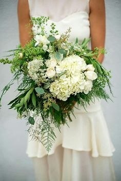 White Jumbo Hydrangea, White Tulips, White Queen Anne's Lace, Green Queen Anne's Lace, Green Seeded Eucalyptus, Green Tree Fern + Additional Varieties Of White Florals & Greens & Foliage