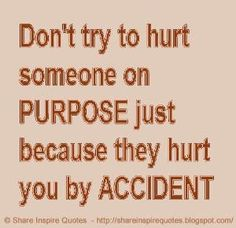 Don't try to hurt someone on purpose just because they hurt you by accident. | Share Inspire Quotes - Inspiring Quotes | Love Quotes | Funny Quotes | Quotes about Life by Share Inspire Quotes