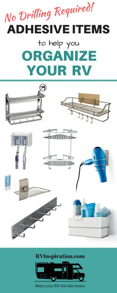 Self-adhesive racks caddies and more for organizing your RV bathroom kitchen closet cabinets and more! Travel Trailer Organization, Rv Organization, Storage Organizers, Motorhome Organisation, Organizing Ideas, Rv Cabinets, Bathroom Cabinets, Rv Storage Solutions, Storage Ideas