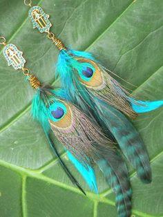 Hamsa feather earrings festival coachella earrings peacock earrings Native American inspired tribal boho belly dancer and hipster style