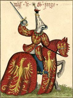 Guillaume de Vienne, sgr de Saint-Georges (Gaignières 1838) -- Aquarelle, d'après «Carousel des chevaliers de l'ordre de la Toison d'or, fait à Bruges aux nopces de Philippe le Bon, duc de Bourgogne, avec l'infante Isabel de Portugal au mois de janvier M.CCC.XXX», ms du cabinet de l'empereur d'Autriche, à Vienne. -- «Mo(n)s. de St.Jorge»