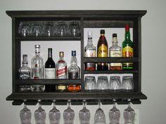 Mini Bar, Black stain, wine rack, liquor cabinet, minimalist style, 3 x 2 wall mounted bar by DogWoodShop on Etsy https://www.etsy.com/listing/387554266/mini-bar-black-stain-wine-rack-liquor
