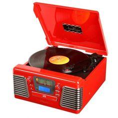 Toca Discos Vitrola Retrô Crosley Autorama Vermelho, Reproduz LP, CD, MP3 e Rádio Am/Fm. R$849