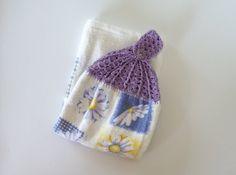 Crochet Tea Towel. Purple Topped Daisy Flower Crochet Topped Tea by IvysTreasures, $6.00