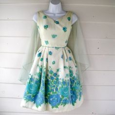 1950s 1960s Blue and White Floral Bubble Skirt Cocktail Dress with Sheer Cape