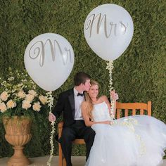 A definite must for wedding party supplies, these over-sized wedding balloons look amazing floating over the head table at wedding receptions or when placed . Balloon Centerpieces Wedding, Wedding Balloon Decorations, Engagement Party Decorations, Wedding Balloons, Bridal Shower Ballons, Mr And Mrs Balloons, Big Balloons, White Balloons, Latex Balloons