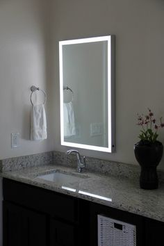 Diy vanity mirror with lights for bathroom and makeup station vera led bordered wall mounted mirror aluminum frame 24 vanity mirrorsbathroom mirrors with lightsmakeup aloadofball Image collections