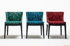 Mademoiselle Memphis by Sottsass - Kartell design small armchair, structure in black polycarbonate, fabric Rete in green, blue and red