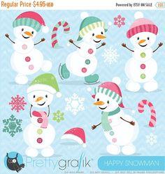 80% OFF SALE Happy PINK Snowman clipart commercial use, vector graphics, digital clip art, digital images  - Cl620