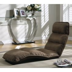 """Have to have it. Aiday Brown Micro-Fiber """"Ez Lounger"""" Click Clack Chair - $158.99 @hayneedle.com"""