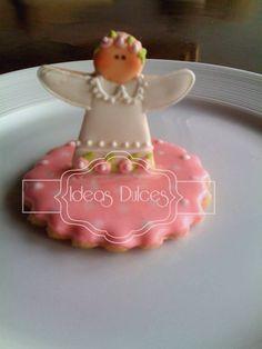 Galletas redondas con angelito para Bautizos y Primera Comuniones