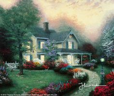 """""""Home Is Where The Heart Is"""" by Thomas Kinkade.   """"Like many others, I enjoy the look of charming two-story homes such as this, with shutters on the windows, flower lined walkways, and a shade tree towering over the front lawn. As I worked on this painting, I imagined my own family living in this beautiful setting, with wicker chairs for my wife, Nanette, a swing for my three year old daughter Merritt, and even a teddy bear beneath the tree for my toddler daughter, Chandler!""""   -Thomas Kinkade"""