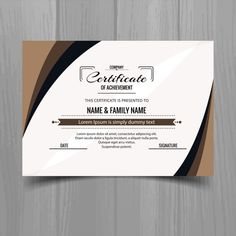 Certificate with brown wavy shapes , Certificate Of Merit, Free Certificate Templates, Certificate Of Achievement, Certificate Design, Sales Kit, Logo Design, Graphic Design, Design Reference, Editorial Design