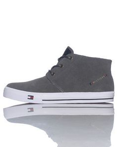 TOMMY HILFIGER Men's mid top casual shoe Lace up closure Tongue with leather HILFIGER logo Suede and synthetic materials TOMMY HILFIGER logo on midsole