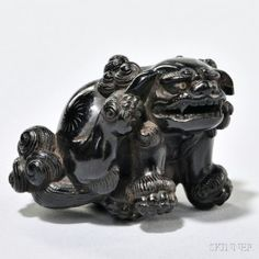 Ebony Netsuke Carving of a Lion