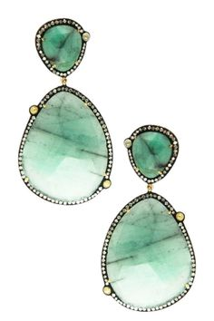 Emerald Victorian Oval & Teardrop Diamond Halo Earrings - 2.11 ctw from HauteLook on shop.CatalogSpree.com, your personal digital mall.