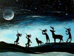 Kokopelli Flute Music Southwest Wolf Deer Animal Blue Moon Starry Night Mistical | eBay