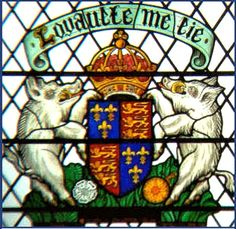 "A stained glass window at York Minster, depicting the arms of Richard III.  His motto was Loyaulte me lie, ""Loyalty binds me""."
