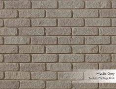 Tumbled Vintage Brick - Mystic Grey - Arriscraft Grey Brick, Brick And Stone, Building Stone, Brick Architecture, Brick Colors, Mystic, United States, Exterior