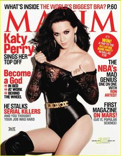 Katy Perry on the January 2011 cover of Maxim magazine wearing a black leather and lace leotard. The hottest of the Maxim 2010 Hot 100 dishes on lethal brassieres and highly addictive tunes, and ha… Duran Duran 80s, Disfraz Katy Perry, Katy Perry Fotos, Maxim Cover, Katy Perry Pictures, Maxim Magazine, Issue Magazine, People Magazine, Magazine Rack