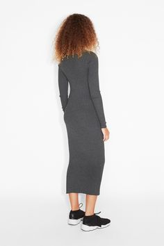 Monki Image 3 of Long sleeve dress in Grey