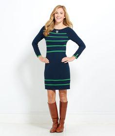 Womens Dresses: Ellsworth Vineyard Navy Blue Sweater Dress for Women