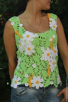 """Купить Топ """"Ромашки"""". - зелёный, цветочный, летний топ, ирландское кружево, майка вязаная"""