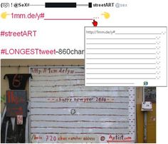 860 char tweet: ~130 visible characters + the bigger part added to 1mm.de/y#__URL______