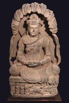 Gandhara,Ier-Ve siecle Bodhisattva assis  en meditation,schiste.
