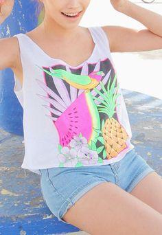 Cute Watermelon Flower Pineapple Parrot Print T-shirt