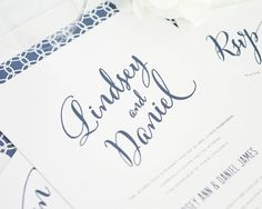 Modern Wedding Invitation  Script Calligraphy by ShineInvitations, $100.00