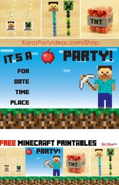 Awesome MINECRAFT party ideas with FREE MINECRAFT PARTY PRINTABLES via Kara's Party Ideas! Tags, Invitation, sign, toppers and more!