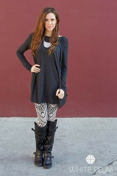 Stella Tunic - 6 Color Options! Charcoal $35.99