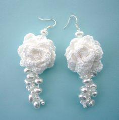 Beaded White Cotton Dangling Rose Earrings