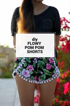 DIY Flowy Pom Pom Shorts