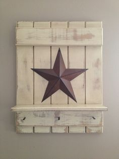 Primitive Americana country star sign shelf hook rack white cream antiqued . $30.00, via Etsy.