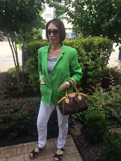 Tuesday Tip: Summertime Blues - and Greens   Ok, it's hot. Why not perk up your wilted look with a great colorful jacket? I threw on my trusty white jeans and black and white striped top - and unexpectedly added a bright green linen jacket by Worth New York from a couple of seasons ago. Heading out to a meeting I'm expecting frigid air conditioning... http://www.asburylanestyle.com/blog/tuesday-tip-summertime-blues-and-greens  #linenjacket #worthnewyork #asburylanestyle