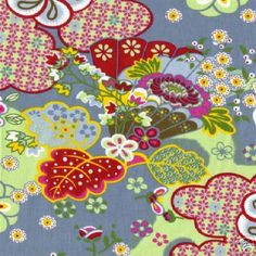 Oilily Blue Kimono Blossom Fabric, rare - hard to find, Oilily of Holland