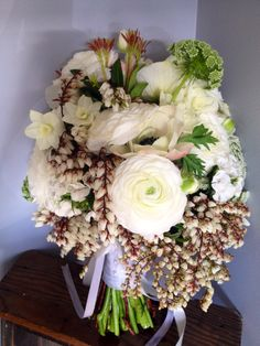 Lacy white cottage bouquet with andromeda and stunning anenomes! | Ginger Lily & Rose Floral Studio | Sunshine Coast Wedding Florist