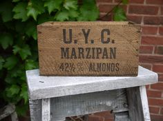 RESERVED Vintage Wooden Crate - Marzipan