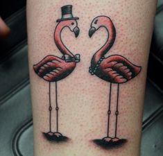 Black Flamingos | Red Flamingos With Black Hat Tattoo