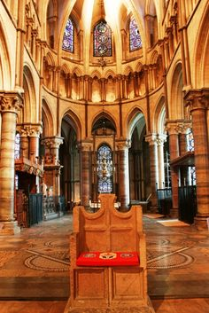 St. Augustine's Chair in the Quire of Canterbury Cathedral, Kent, Great Britain