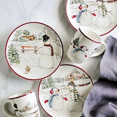 Snowman Dinnerware Collection #williamssonoma just the dinner plates indulged -December 2016