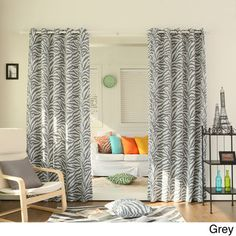 Zebra Printed Room Darkening Grommet Top 84 inch Curtain Panel Pair | Overstock.com Shopping - Great Deals on Curtains